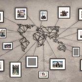 Metalen Wereldkaart Zwart - Wandpaneel - 60x100 cm