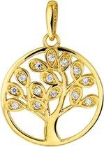 The Jewelry Collection Hanger Levensboom Zirkonia - Goud