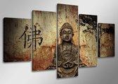 Canvas Schilderijen (Wanddecoratie woonkamer / slaapkamer) - Schilderij Boeddha Bruin - 160 x 80 cm 5-luik
