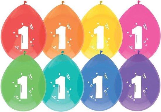 16x Ballonnen 1 jaar - Verjaardag - Kinderfeestje - Leeftijd versiering