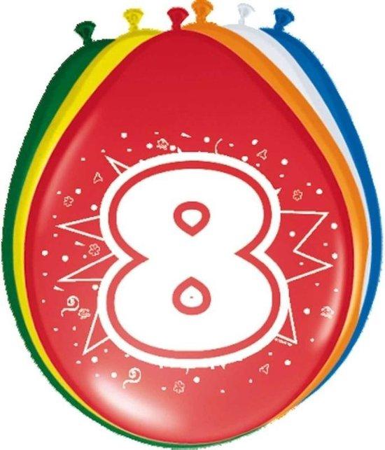 8x stuks Ballonnen versiering 8 jaar