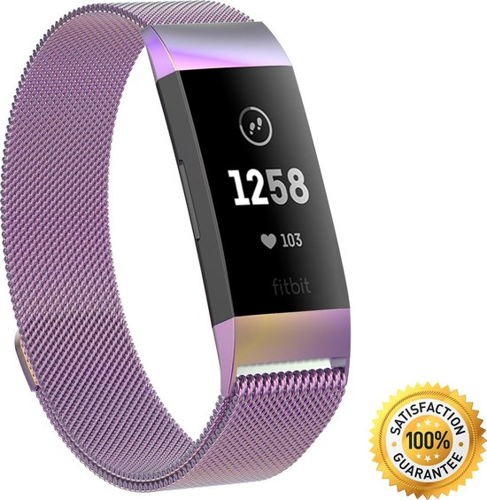 Gymston® Milanees bandje Fitbit Charge 3 Fitbit Charge 4 Rainbow Medium