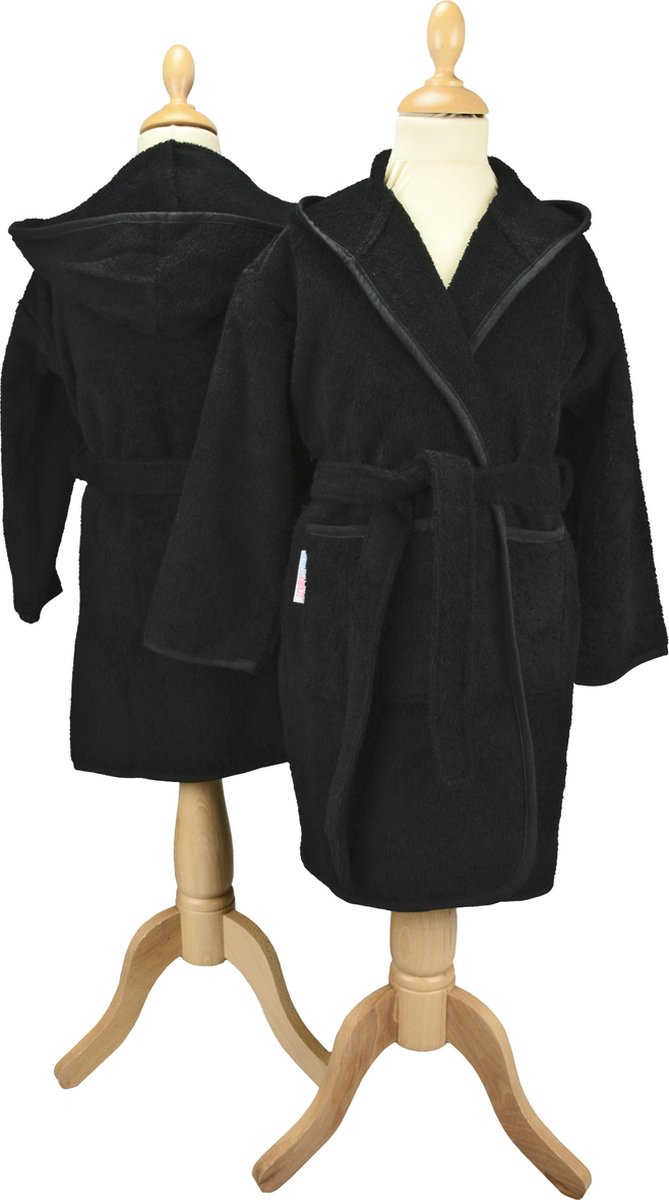 ARTG Boyzz&Girlzz® Kinder Badjas met Capuchon - Zwart - (Black) - Maat 152/164 - ARTG Boyzz & Girlzz®