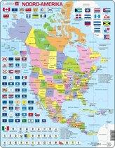 Puzzel Maxi Kaart - Noord Amerika met staten en vlaggen - 70 stukjes
