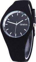 Fako® - Horloge - Geneva - Siliconen Ultra - Zwart