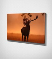 Deer In Sunset Canvas | 80x120 cm