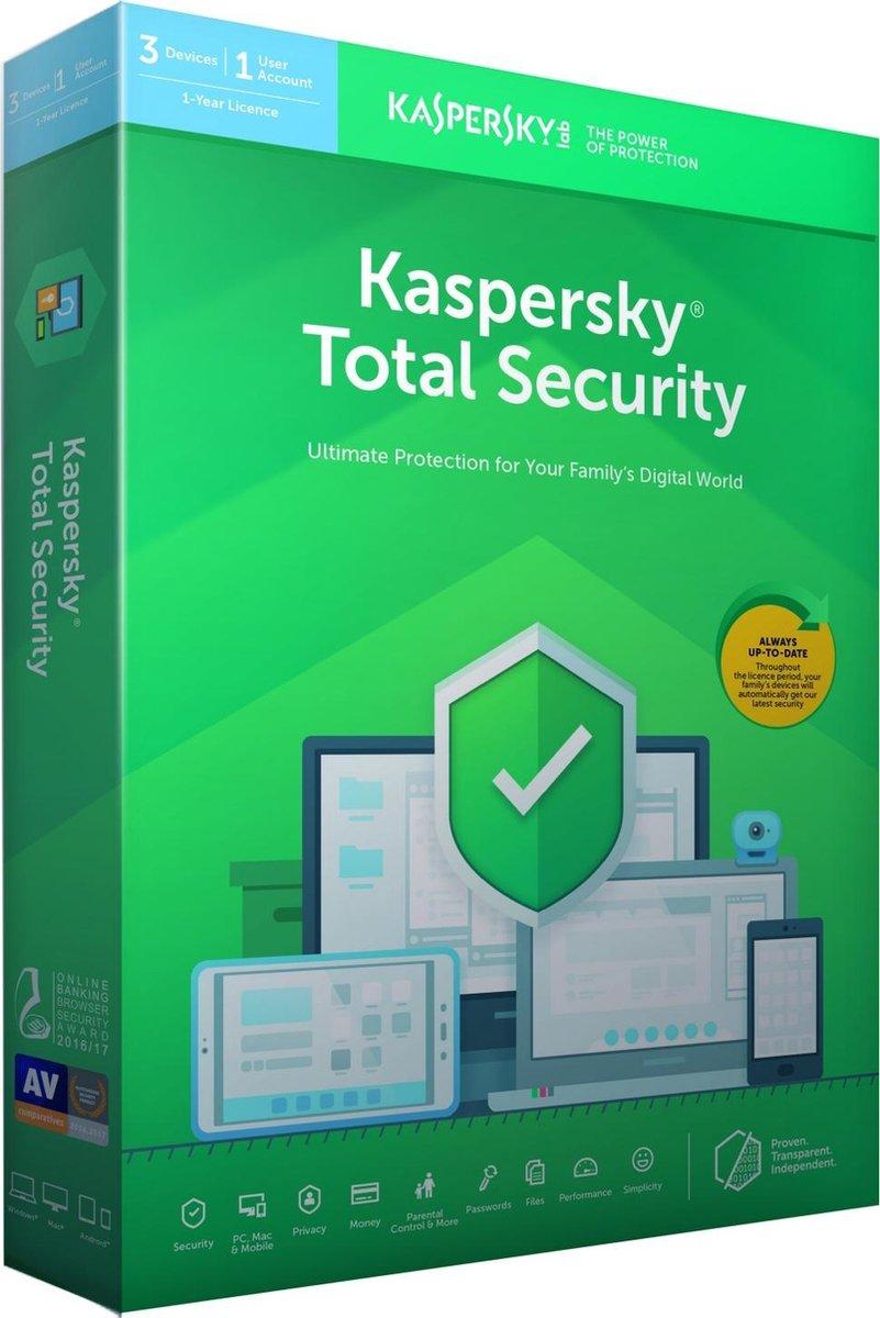 Kaspersky Total Security - Multi-Device - 3 Apparaten - 1 Jaar - Nederlands / Frans - Windows / Mac