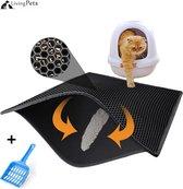 LivingPets® Kattenbakmat maat 40 x 50 cm  - Met Gratis Kattenbakschep - Grit Opvanger - Zwart