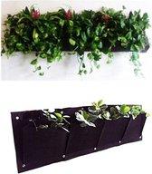 Plantenhanger 4 zakken - Plantenbak - Plantenrek - Hangende tuin - Horizontale tuin