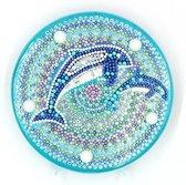 Diamond Painting Decoratieschaal - Dolfijn - met LED Verlichting - Maak Je Eigen Decoratieschaal
