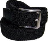 Zwart - Elastische Comfort Riem - maat115 cm - Gevlochten - 100% Elastisch - Nikkelvrije Gesp