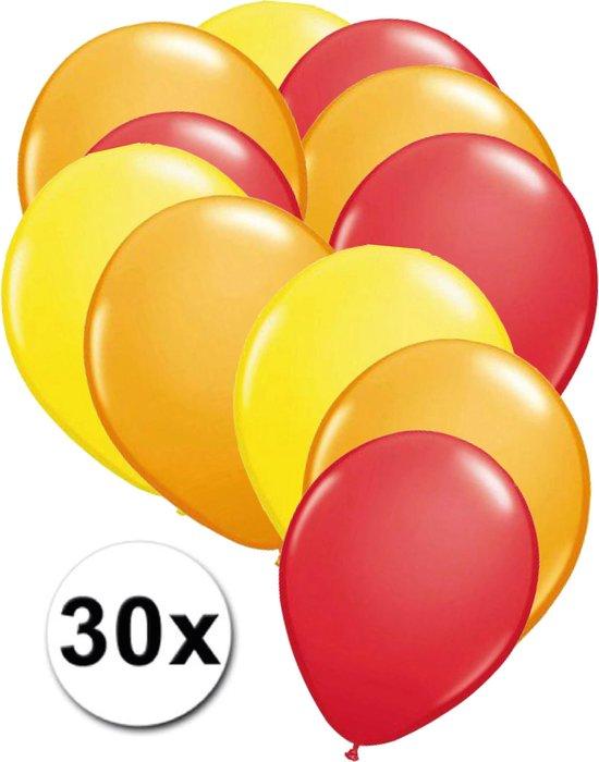 Ballonnen Geel, Oranje & Rood 30 stuks 27 cm
