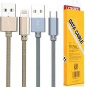LDNIO LS08 Goud Micro USB oplaad kabel geweven nylon geschikt voor o.a Samsung Galaxy S2 S3 S4 S5 S6 S7 Mini Edge