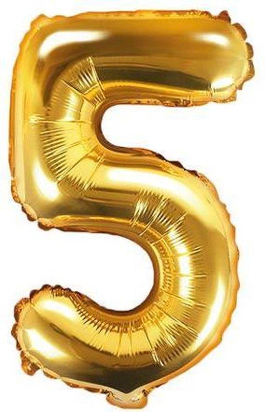 Folie ballon nummer 5, 35cm, goud