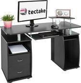 TecTake computerbureau - bureau 115 cm breed - zwart - 402037