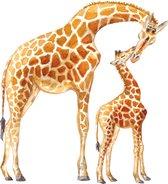 Muursticker giraf -  babykamer - kinderkamer - dieren  in aquarel - wanddecoratie - 60 x 70 cm