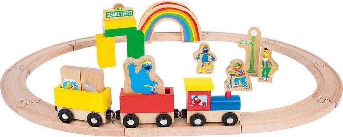 bol.com | Houten treinbaan set - Sesamstraat trein - 27 stuks - houten  speelgoed vanaf 1,5 jaar...