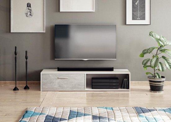 Beton Tv Meubel.Bol Com Tv Meubel Modern Beton Look 140 Cm 2 Opbergvakken