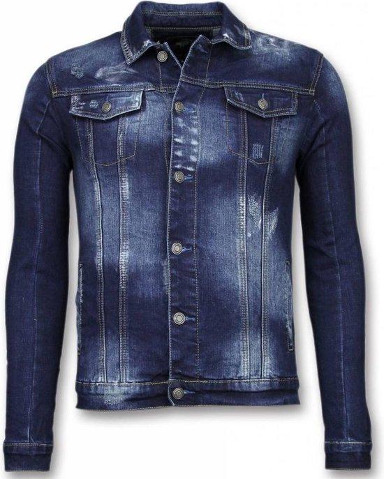 TRUE RISE Spijkerjasje Stone Wash Spijkerjasje Heren Denim Jacket Donker Blauw Maat: M