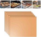 5 stuks 0.2 mm barbecue grill mat non-stick BBQ-bakken matten grootte: 40 x 33cm (brons)