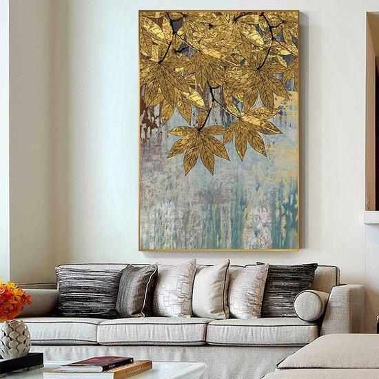 Bol Com Canvas Schilderij Gouden Herfstblad Kunst Aan Je Muur Modern Abstract Kleur