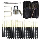 Lockpick Set Voor Beginners En Gevorderden met Luxe Lederen Hoes - Lock pick set - Lockpicker - 24 Delig - Zwart 2021 model