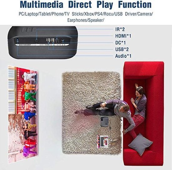 Relicus Mini Beamer – HD Projector – Zwart – Inclusief HDMI kabel