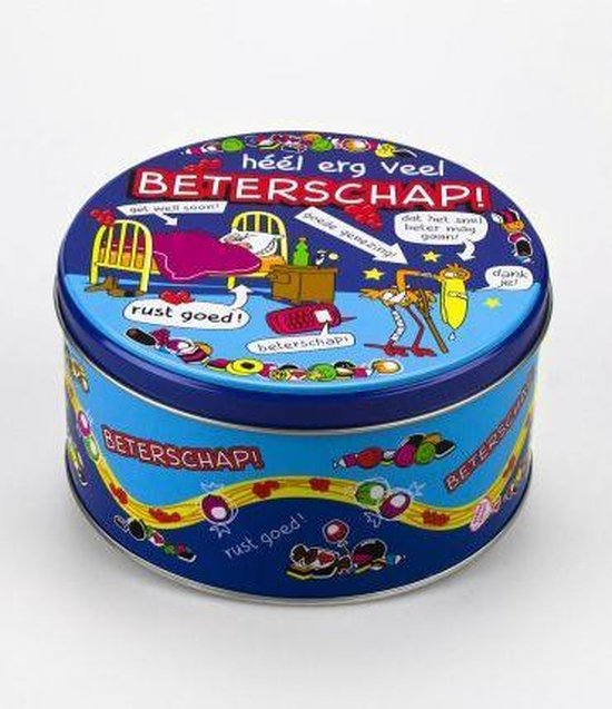 Snoeptrommel - Beterschap - Gevuld met verse snoepmix - In cadeauverpakking met gekleurd lint