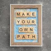 Schilderijtje 3D. Travel. Make your own path. 16 x 21 cm.