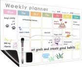 Magnetische Weekplanner - Inclusief Magnetische Marker + Extra Magnetische Wisser - A3 Formaat - Plan Whiteboard - Kalender - Koelkastkalender - Planbord - Familieplanner - To Do Planner - Weekly Planner