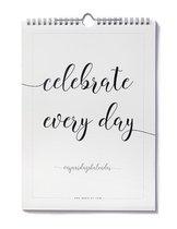 Verjaardagskalender geen datum zwart wit A4 staand volwassenen minimalistisch met quotes