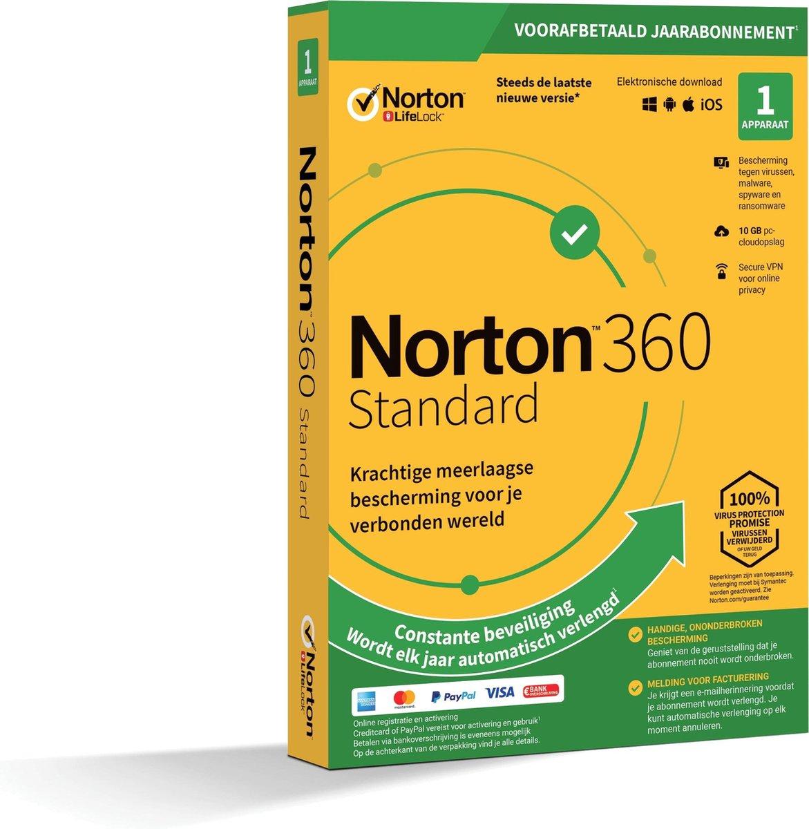 Norton 360 Standard 2020 - 1 Apparaat - 1 Jaar - 10GB - Nederlands - Windows/MAC/Android/iOS Downloa