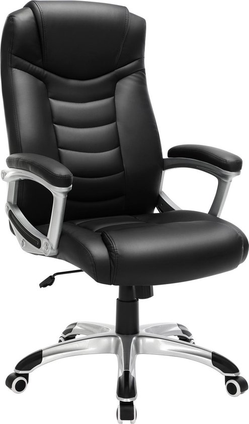 Songmics zwarte bureaustoel, draaistoel, met hoog zitcomfort
