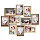 ZEP - Montreaux 10Q houten galerie / multi fotolijst in bruin tinten voor 10 foto's 10x15 (formaat 46,5 x 55,5 cm) - TY091