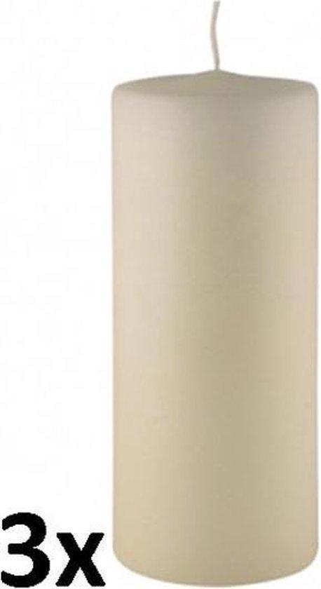 3 stuks ivoor stompkaarsen 300/88 (180 uur)
