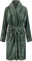 Unisex badjas fleece - sjaalkraag - olijfgroen - maat XL/XXL