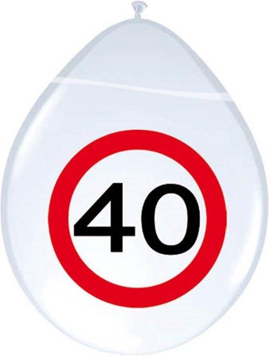 Ballonnen Verkeersbord - 40 jaar, 8st.