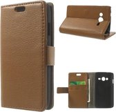 Litchi wallet hoesje Samsung Galaxy Ace 4 G357FZ  bruin
