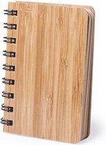 Notitieboekje/schriftje met bamboe kaft 9 x 12 cm