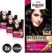 Schwarzkopf Poly Palette 900 Zwart Haarverf - 3 stuks - intensieve, natuurlijke kleuren met 100% grijsdekking