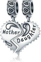 Zilveren hangende bedel Moeder-en dochterliefde