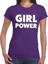 Girl Power tekst t-shirt paars dames - dames shirt Girl Power L