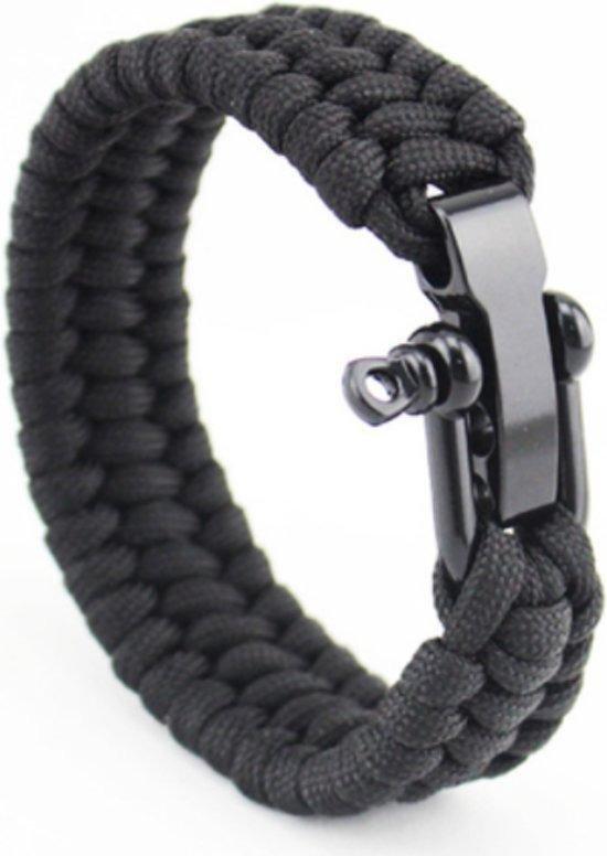 Paracord armband Zwart - RVS verstelbare sluiting
