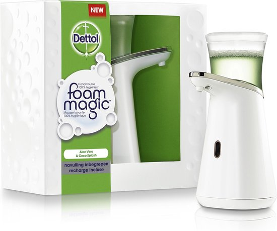 Dettol Foam Magic Automatische Zeepdispenser -  Incl. Aloë Vera Navulling - 200 ml