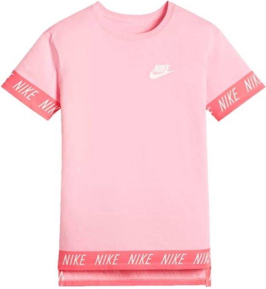 Nike NSW Tee Hilo Tape Sporttop Meisjes - Roze/Wit