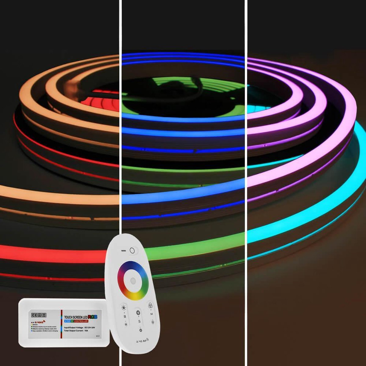 10 meter RGB Neon LED flex Maxi recht - complete set neon verlichting