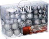 Christmas gifts Kerstballen set - 100 ballen - Plastic / Kunststof - Zilver