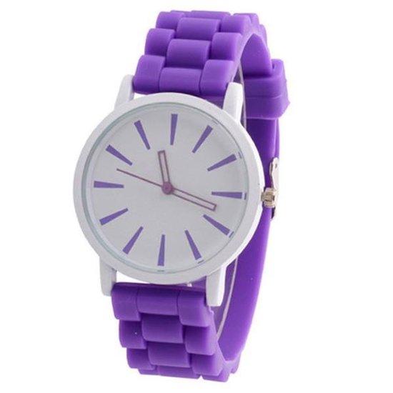 Fako® – Horloge – Siliconen – Stripes – Paars