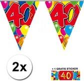 2x vlaggenlijn 40 jaar met sticker