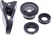 Zwarte Universal Clip Lens macro / fish eye / wide angle